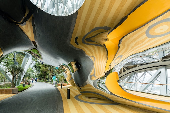 The Discovery Slides double as an attraction for children and sculptural art moment at the new airport addition.