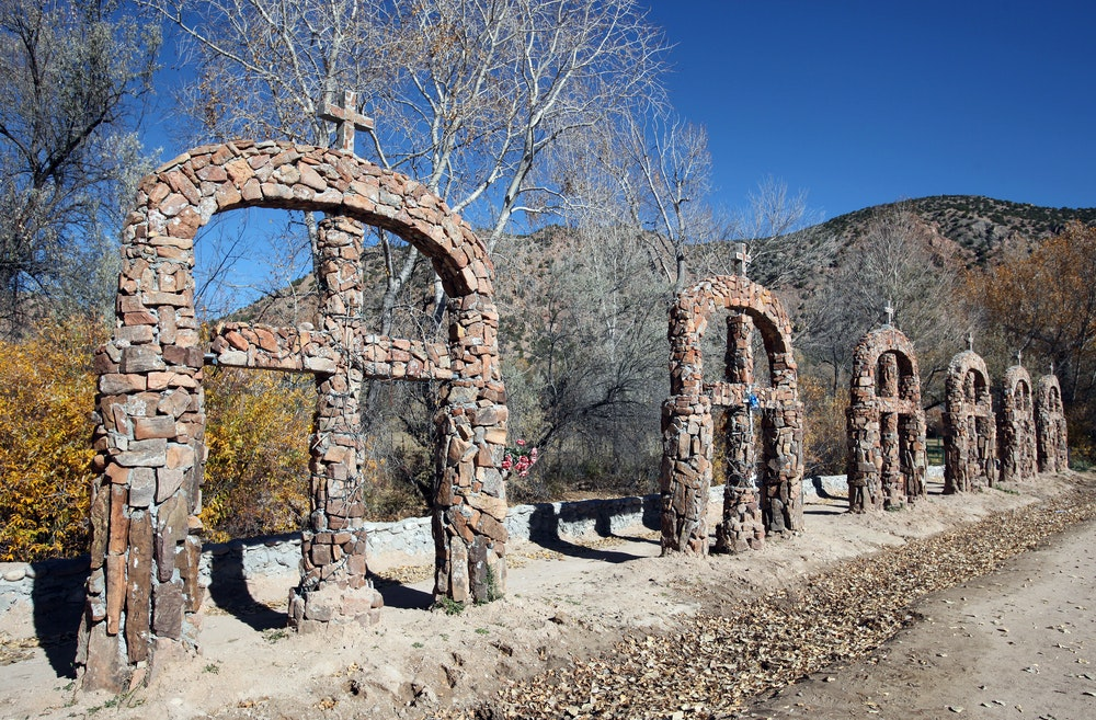 "El Santuario de Chimayó in Chimayó, New Mexico, is said to contain ""holy dirt"" capable of miraculous cures."