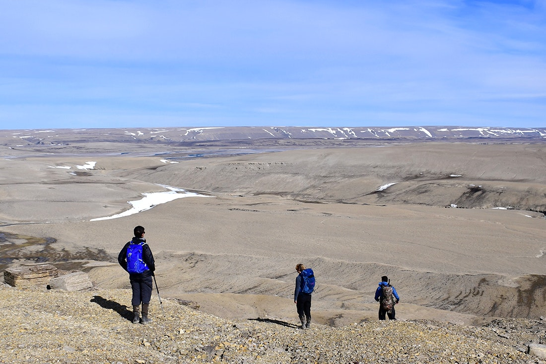 """A guide and two Quark Expeditions guests near """"Google Canyon"""""""