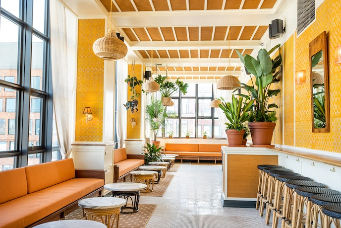 Wythe Hotel completely redesigned its rooftop bar this summer.