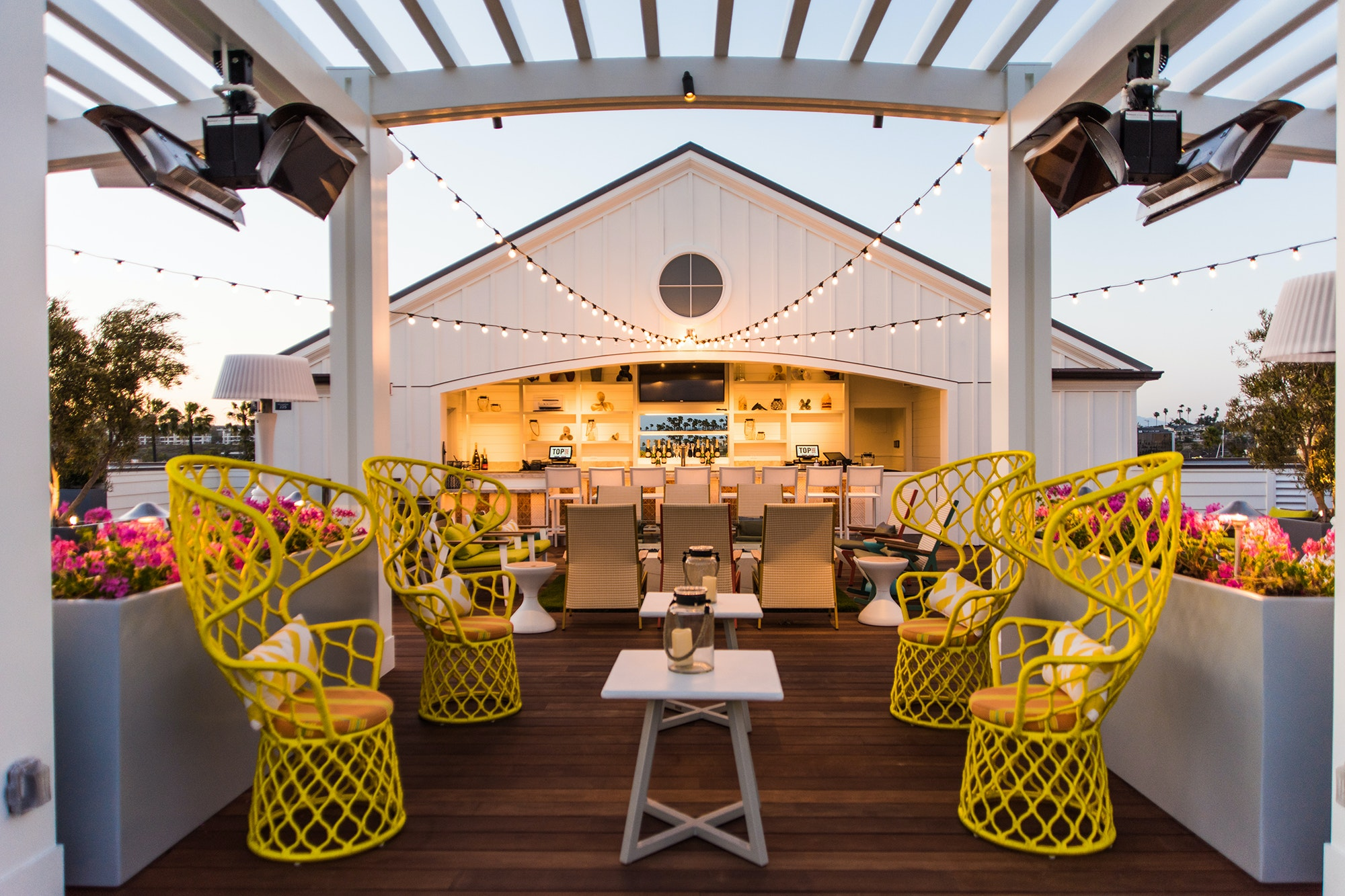 The Topside Roof Deck bar at Newport Beach's Lido House hotel