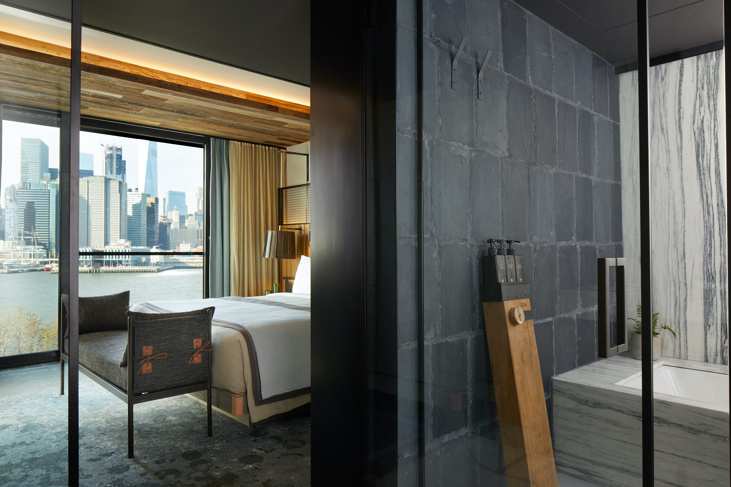 Every room at 1 Hotel Brooklyn Bridge includes a filtered-water system.