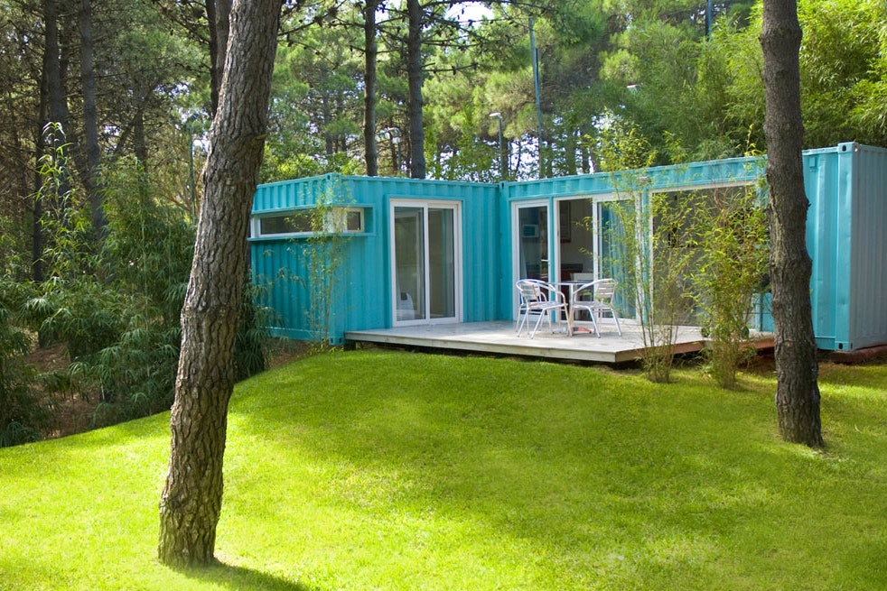 The container units at Alterra Glamping share land with an art gallery.