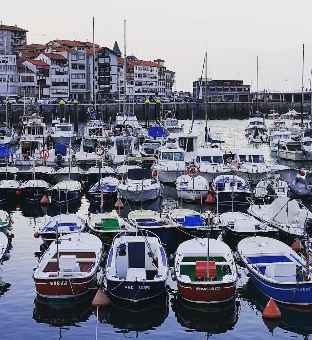 Boats in the seaside town of Lekeitio