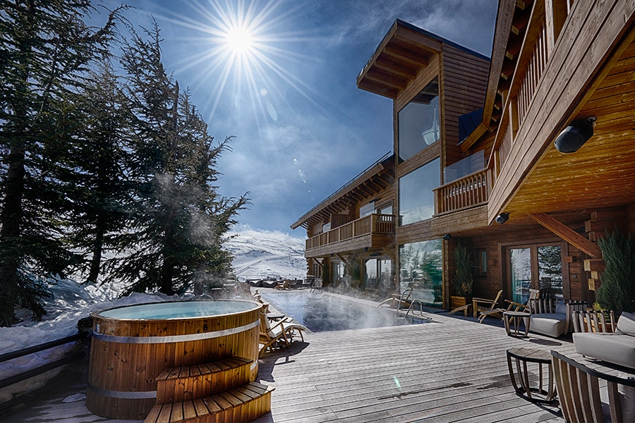 Spain's El Lodge offers the only open-air, heated pool in the Sierra Nevadas.