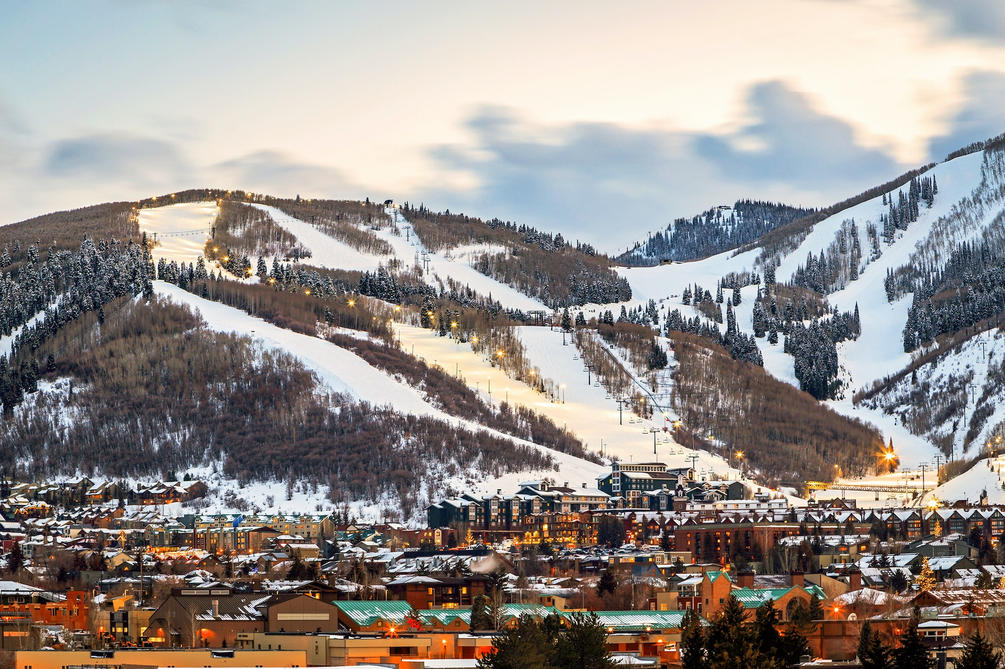 Park City lies east of Salt Lake City, Utah, in the Wasatch Range of the Rocky Mountains.