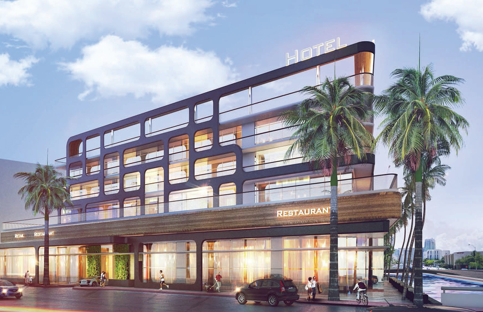 A rendering of the exterior at the soon-to-open Kimpton Hotel Palomar South Beach