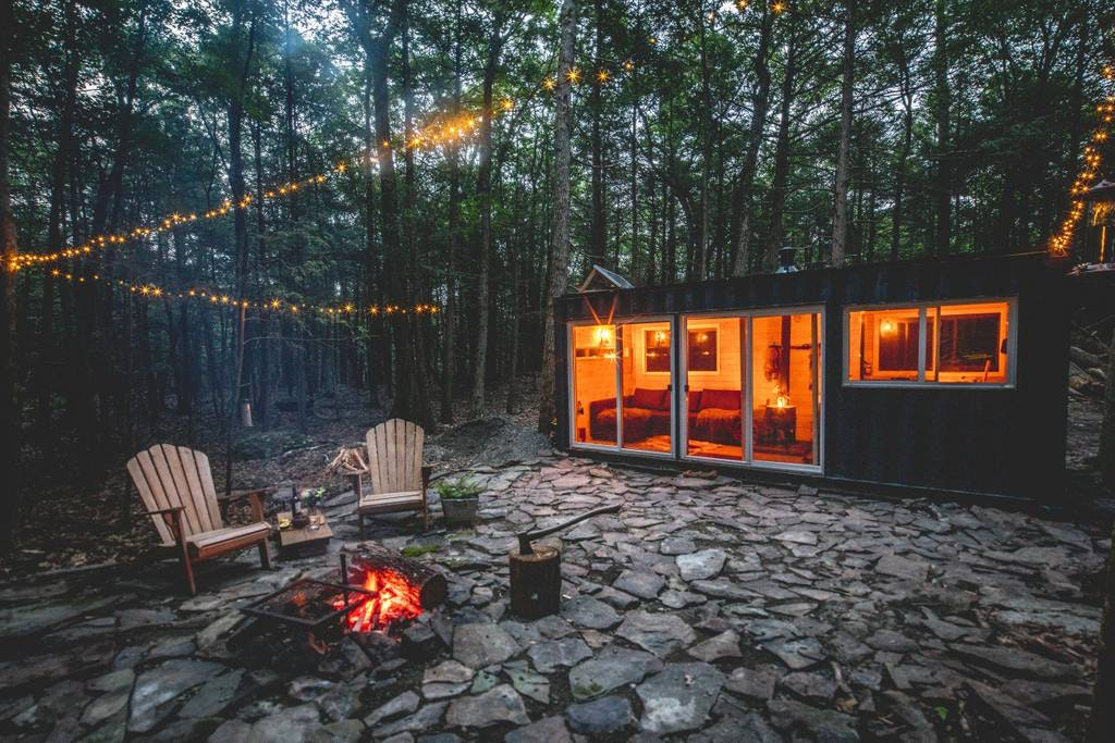 The cozy retreat, Contained Cabin, is hidden away in the Catskill Mountains.