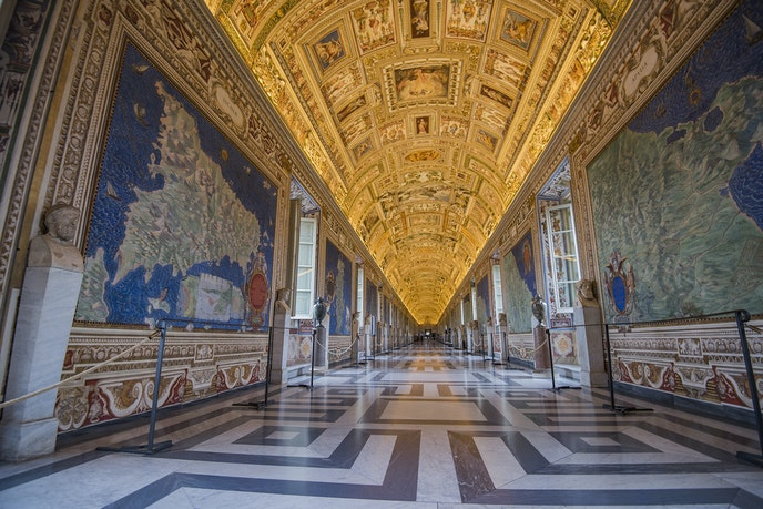 The hall of maps at the Vatican Museums