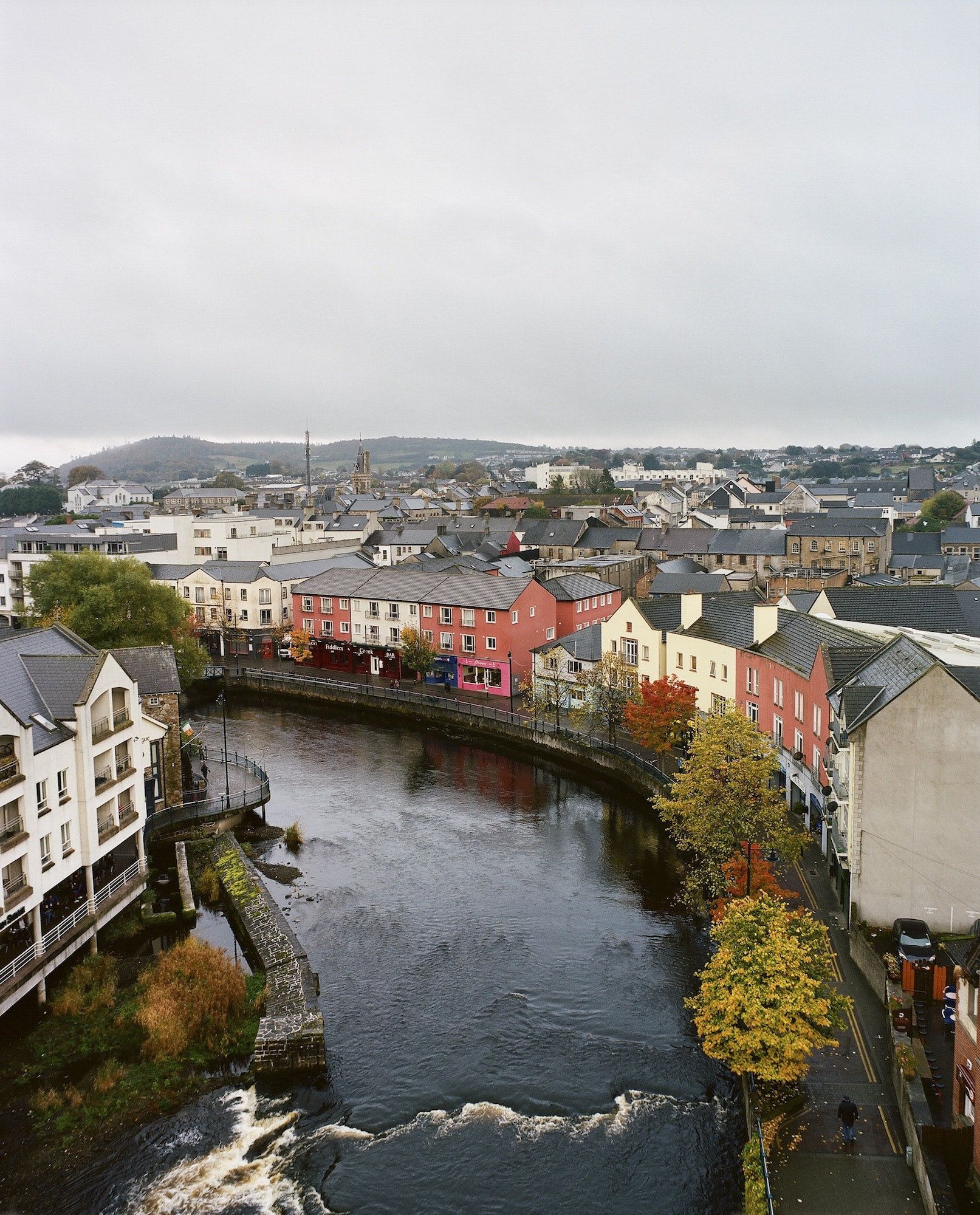 A view of the rooftops and colorful homes of Sligo.