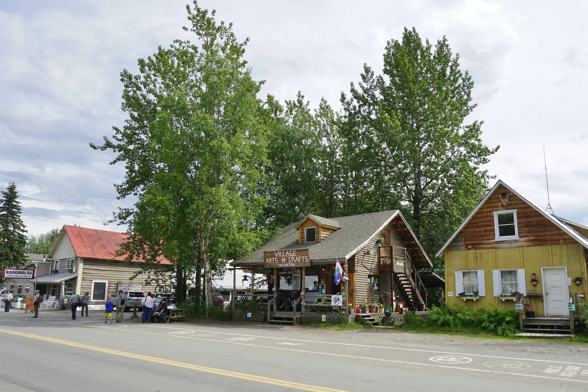 In quirky Talkeetna, visitors can stock up on reindeer meatloaf at the Roadhouse (pictured at left).