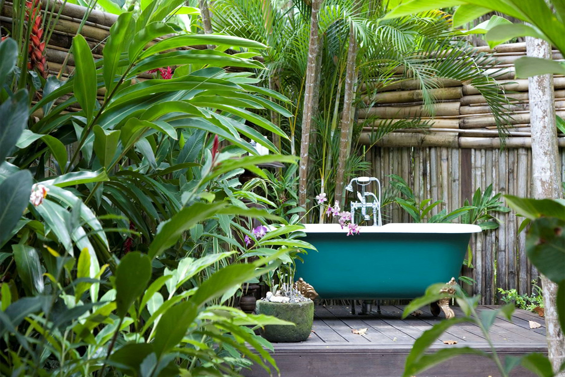 Get inspired by the James Bond vibes in the tub at GoldenEye's Fleming Villa.