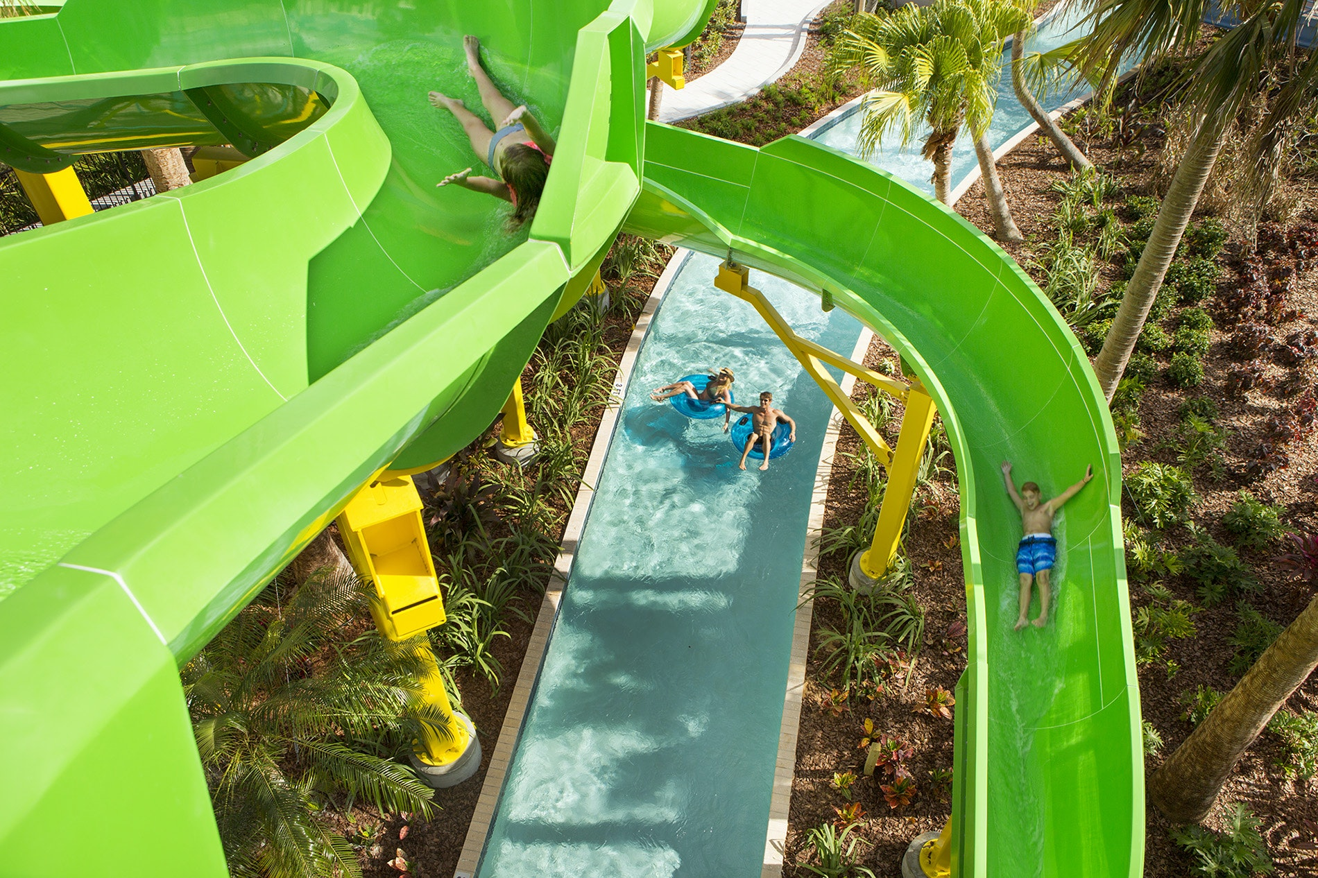 The kids shoot the chutes at the Grove's expansive Surfari Water Park.