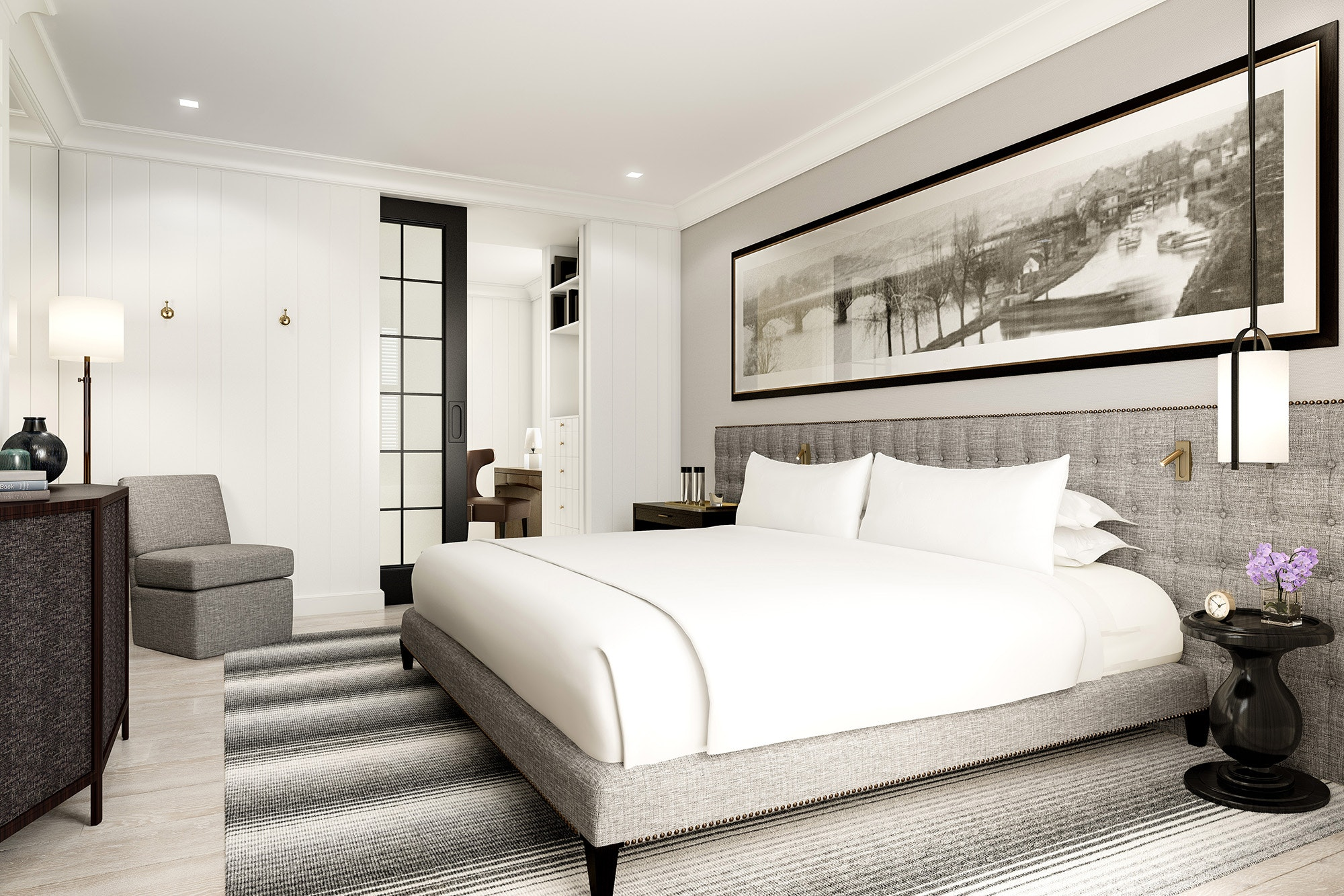 Inside a bedroom at one of the new townhouses at the Rosewood Washington, D.C.