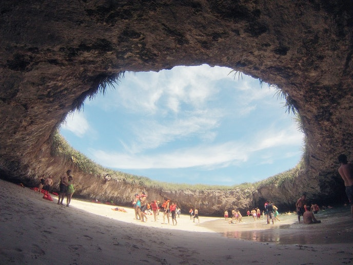 In Mexico's remote Marietas Islands National Park, Hidden Beach is only accessible by swimming or kayaking in.
