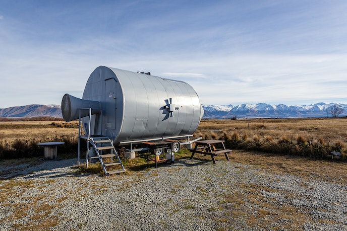 "A replica of ""Apollo 11,"" this Airbnb has views of Mount Cook."