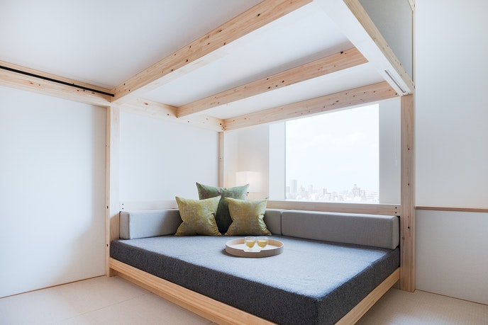 Guest rooms at OMO5 are designed to be functional yet comfortable.