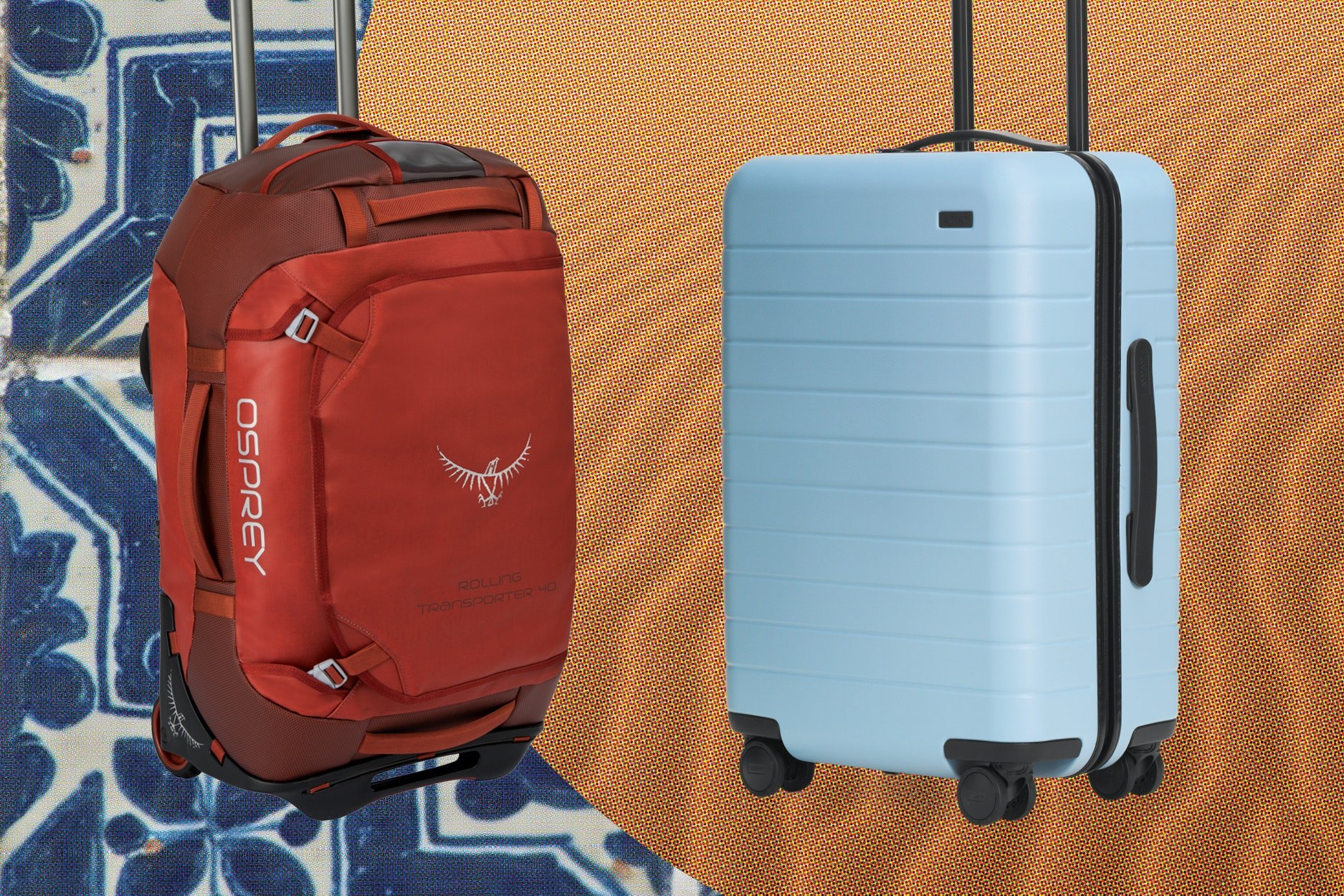 The Osprey Transporter Wheeled Duffel, left, and Away's The Bigger Carry-On, right