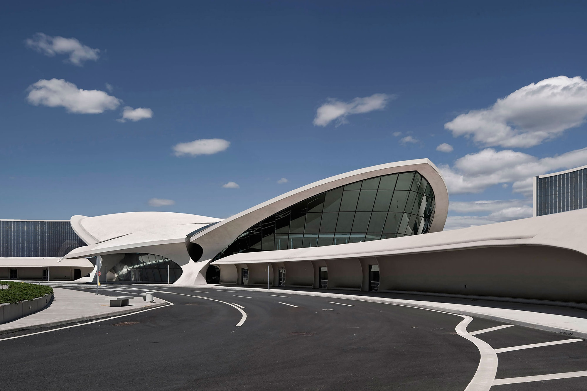 The exterior of the soon-to-open TWA Hotel at JFK Airport