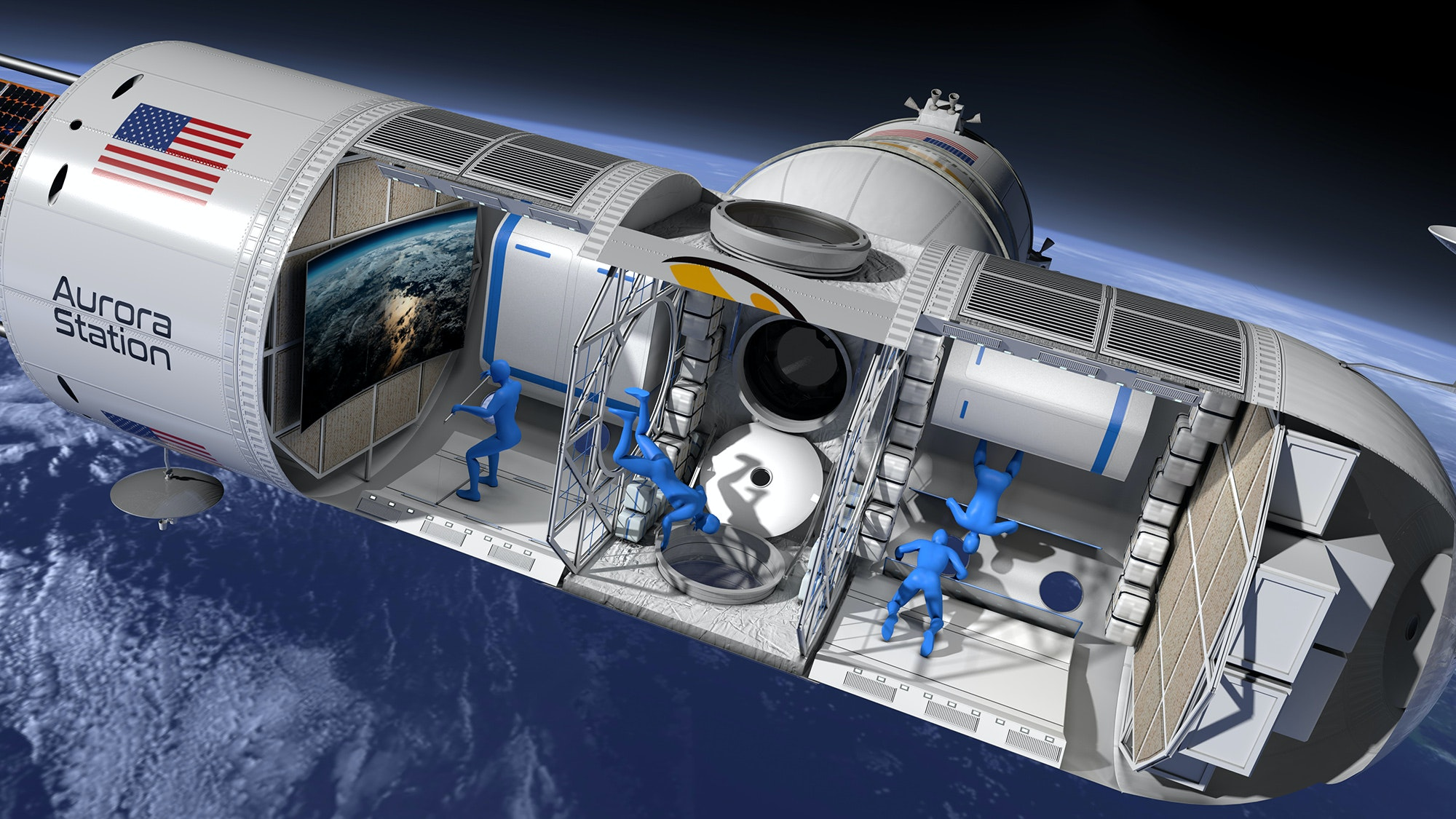 While in space, Aurora Station will soar 200 miles above the planet's surface in low Earth orbit.