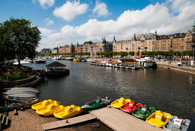 Colorful paddleboats in Östermalm