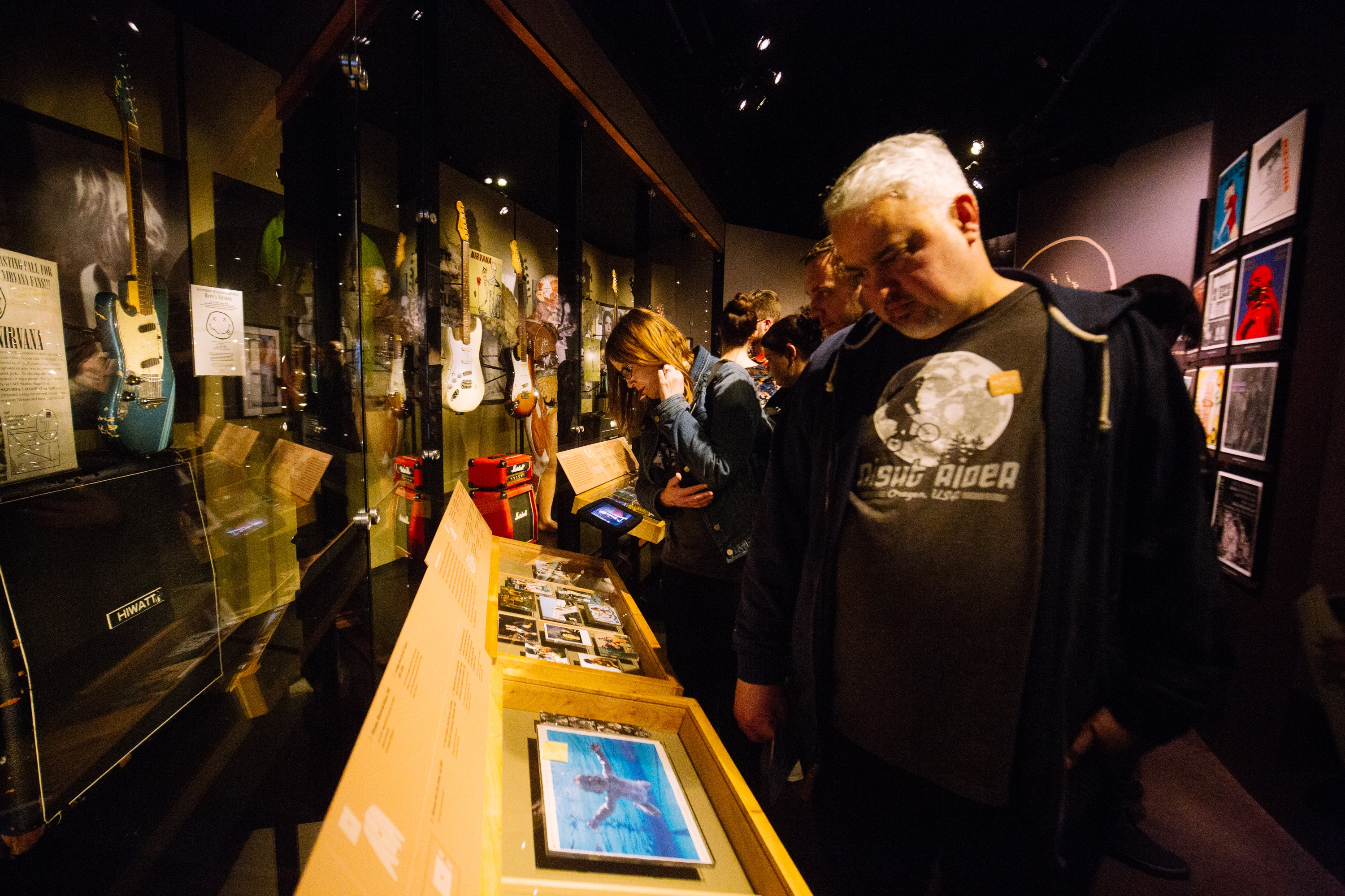 MoPOP patrons check out the Nirvana-themed exhibit, now on permanent display at the museum.