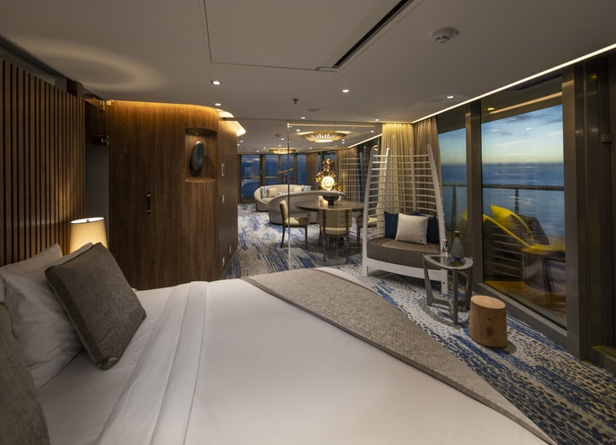 As do all suites on the ship, the Penthouse suite features a bed with a view.
