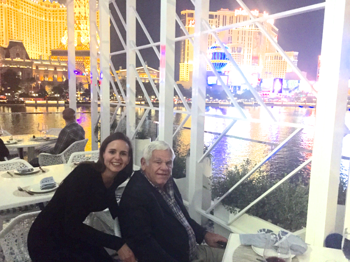 Shelby with her travel inspiration: her father! Las Vegas and Venice, Italy, are two of their recent trips.