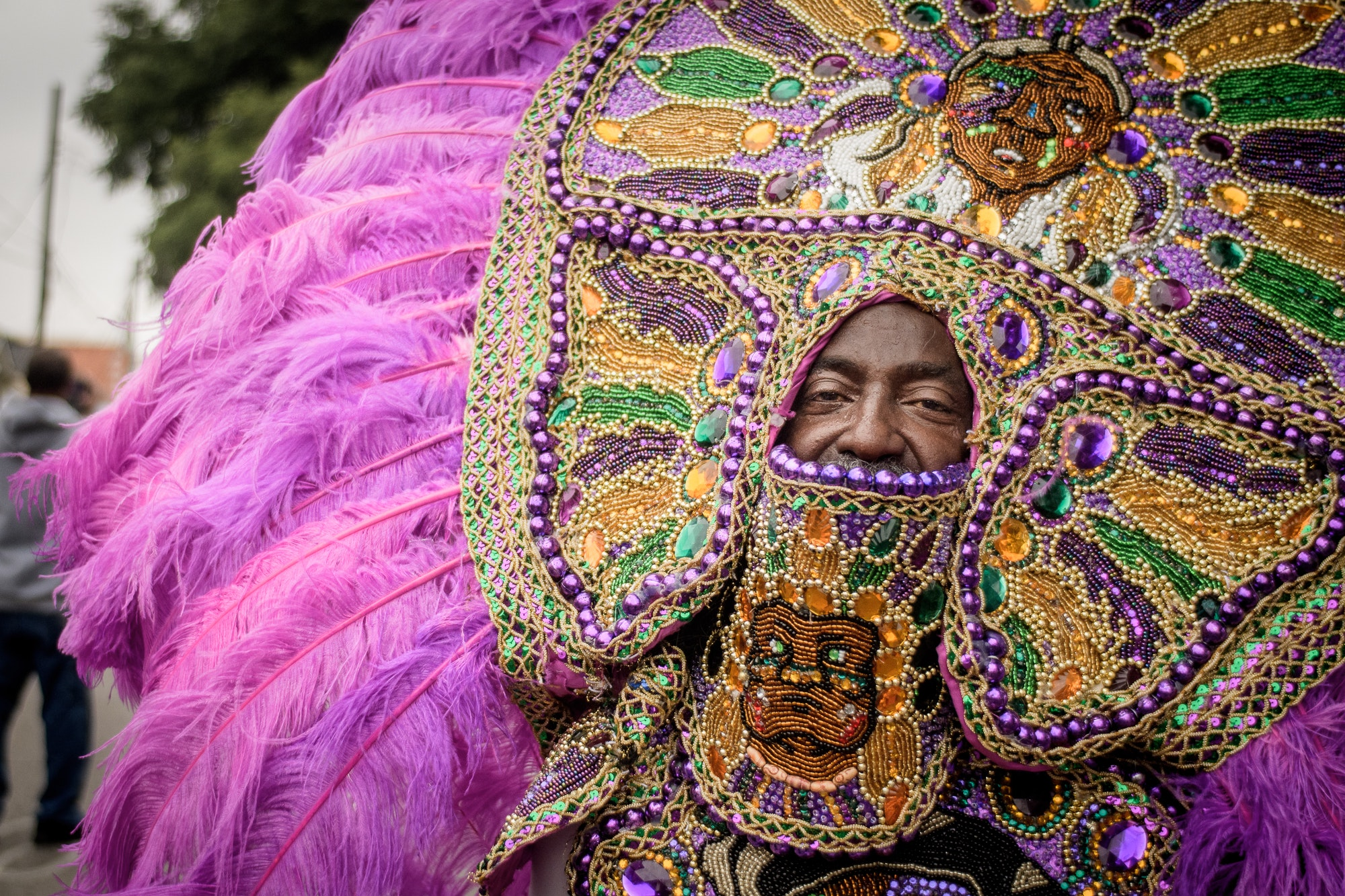 Big Chief Tyrone Casby of the Mohawk Hunters, whose cowls represent a stylistic trademark of the tribe.