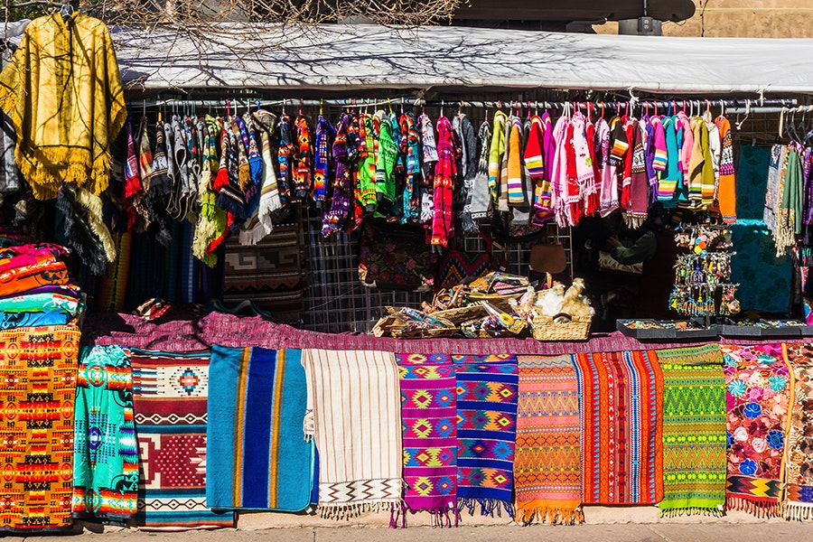 Santa Fe markets feature goods by local artisans, including jewelry, pottery, and other traditional wares.