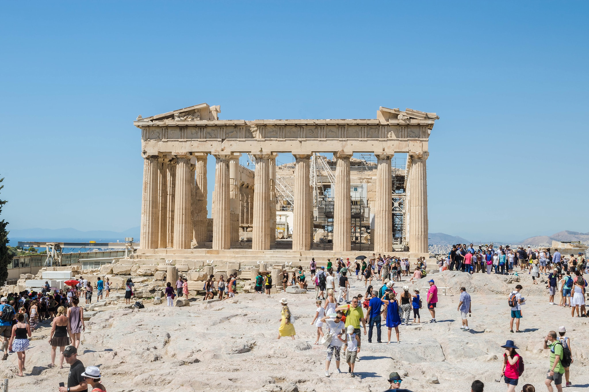 The Parthenon was built from limestone and Pentelic marble.