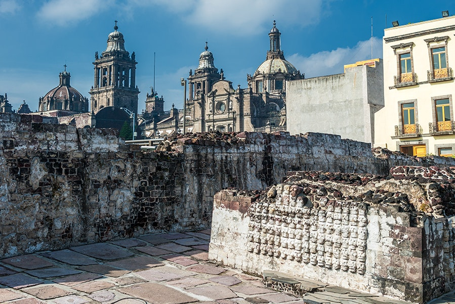 The Templo Mayor in Mexico City is a historical center of the Aztec empire. In 1978, electrical workers rediscovered the site, where ancient art and artifacts are still excavated today.