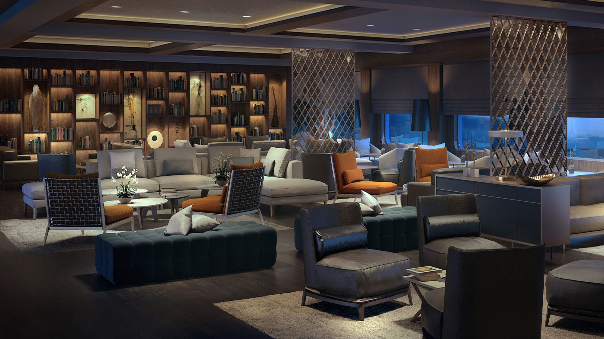 A rendering of the onboard Living Room—a cozy area that will serve as a library and café