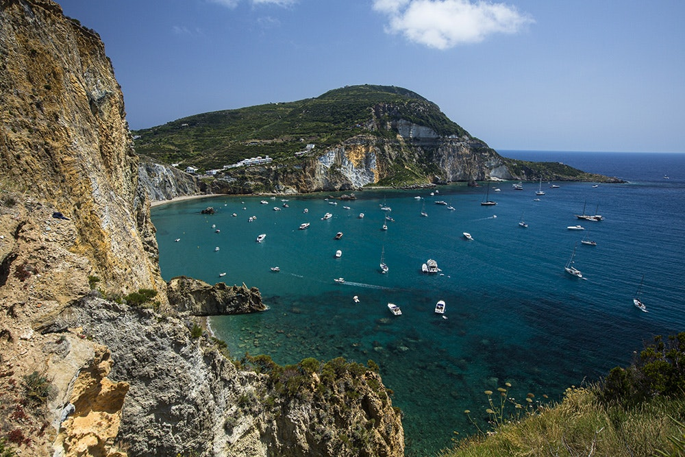 Ponza—located about 70 miles northwest of Capri—is the largest island of the Pontine Islands archipelago.