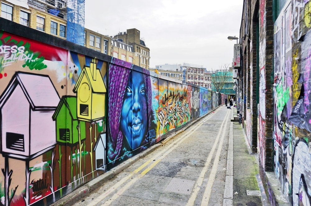 The East End neighborhood of Shoreditch is known in part for its creative street art.