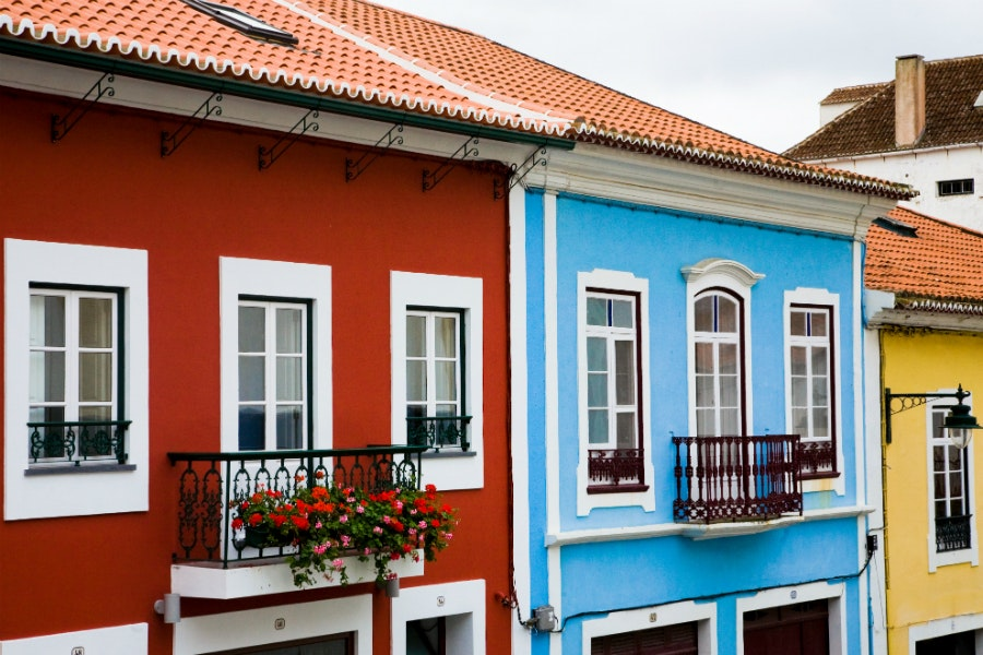 Rich colors, flavors, and culture are found throughout the Azores, as in these typical houses on Terceira island.