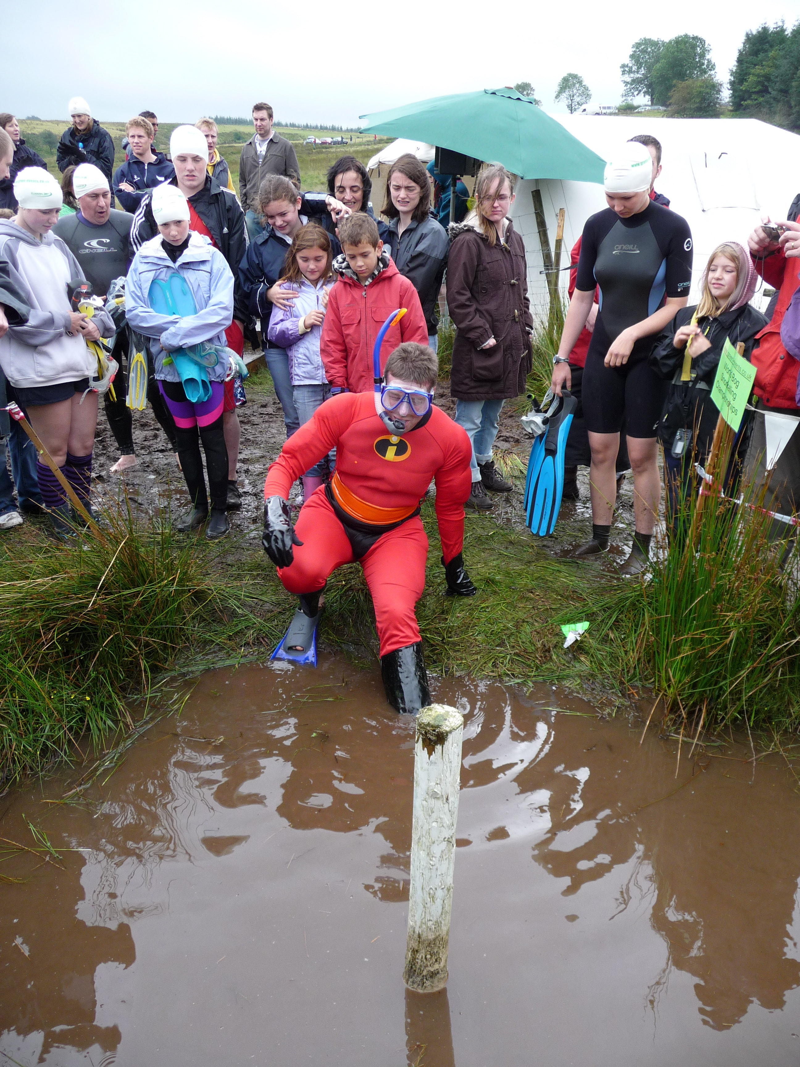 The current record time at the World Bog Snorkeling Championship is one minute and 26.15 seconds.