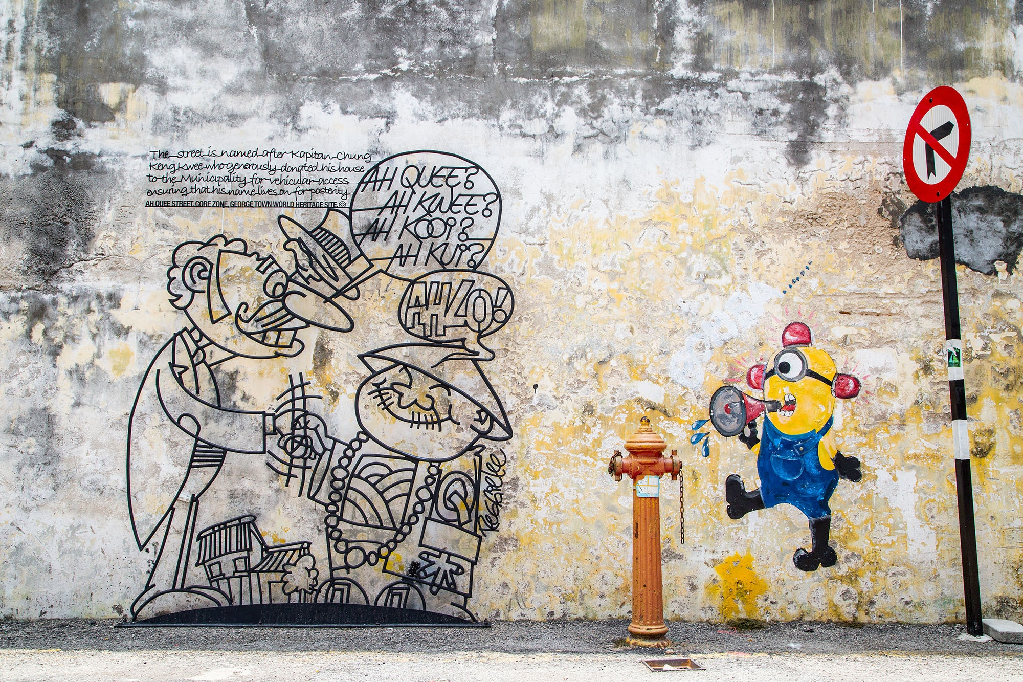 """Sculpture at Work's steel-rod caricatures won """"The Marking of George Town"""" competition."""