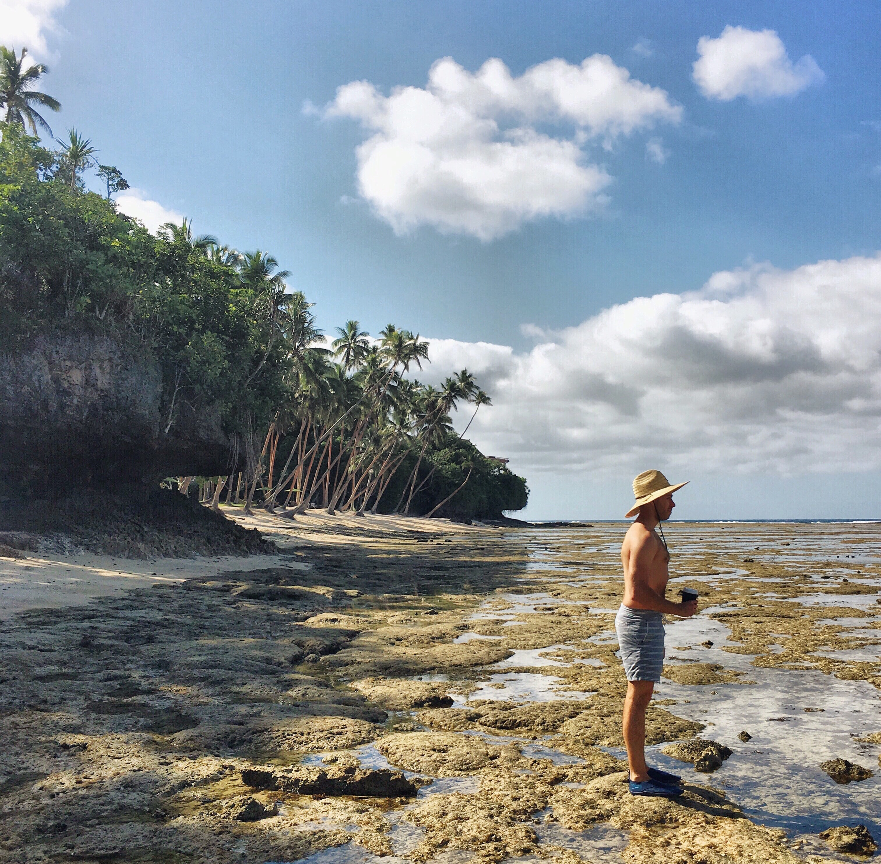 The writer's husband explores Namale's tidepools, which are brimming with life.