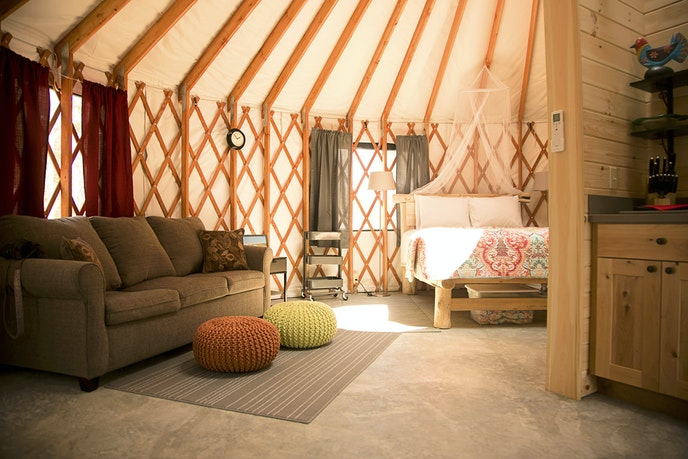 "Acadia Yurts is located on the west side of Mount Desert Island, which locals call the ""quiet side"" of the island."