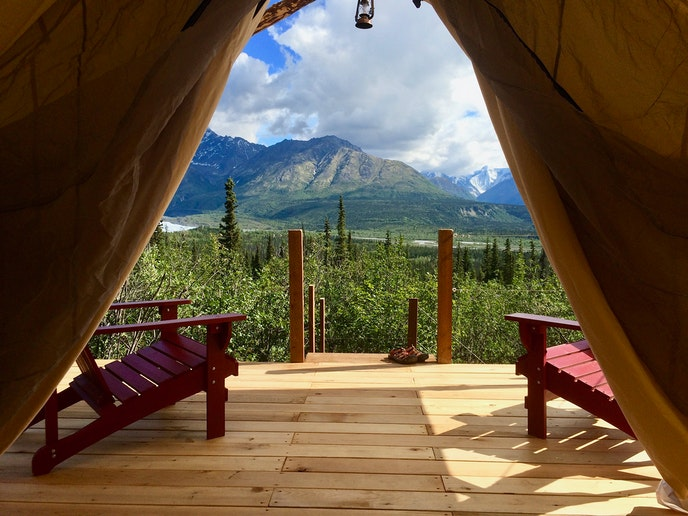Alpenglow Luxury Camping offers packages as well, including Matanuska Glacier helicopter, climbing, or trekking tours.