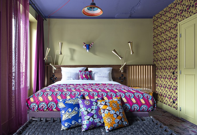 The vivid colors and patterns of the new 25hours Terminus Nord hotel reflect its neighborhood's arty vibe.