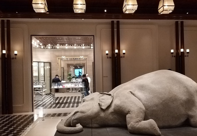 """The elephant sculpture, entitled """"The Skin Speaks a Language Not Its Own,"""" took the artist 10 months to create."""