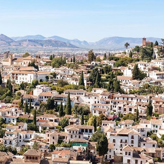 The beautiful cascade of houses in the Albayzín district of Granada.