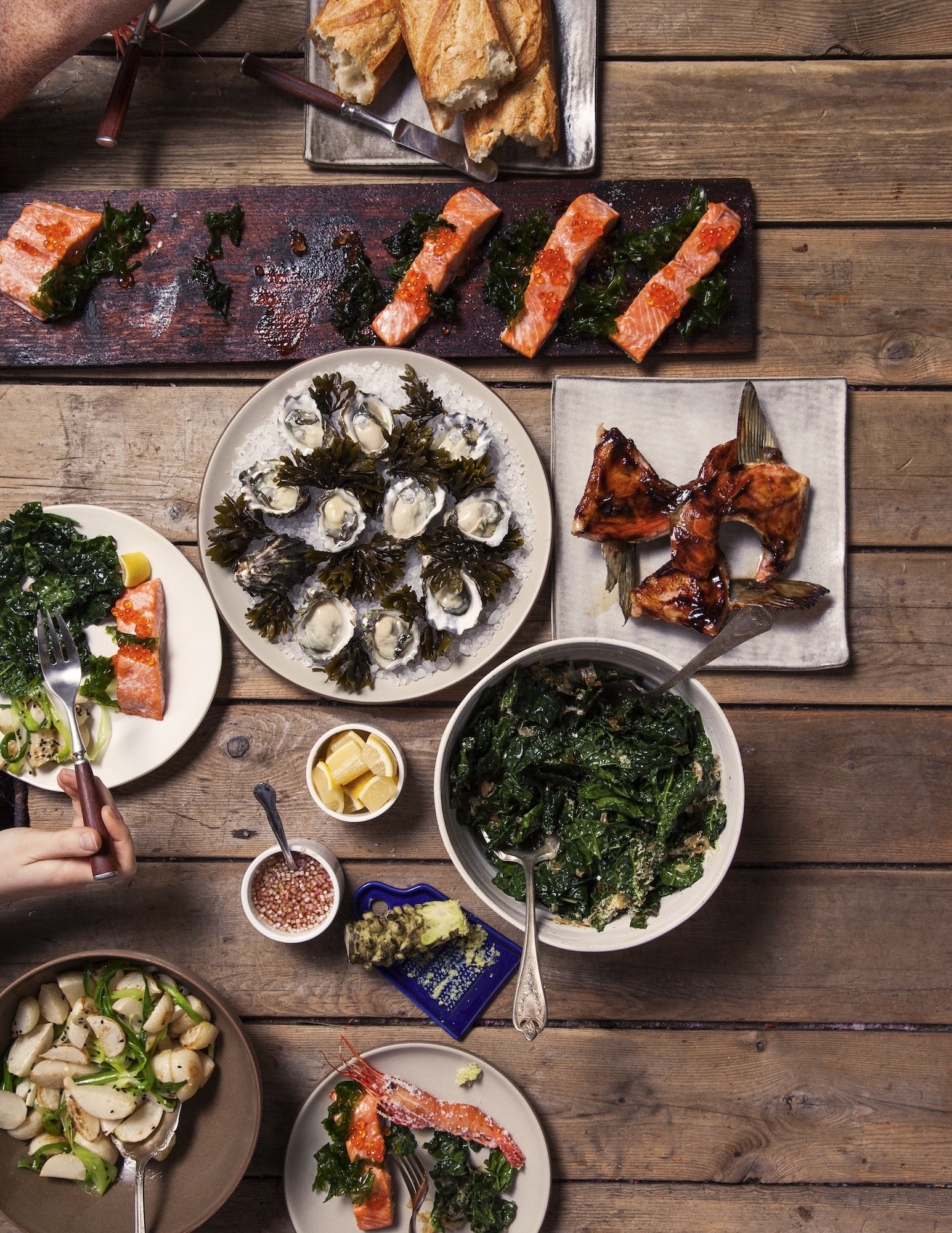 Locally foraged ingredients and products grown at small farms come together for a casual feast.