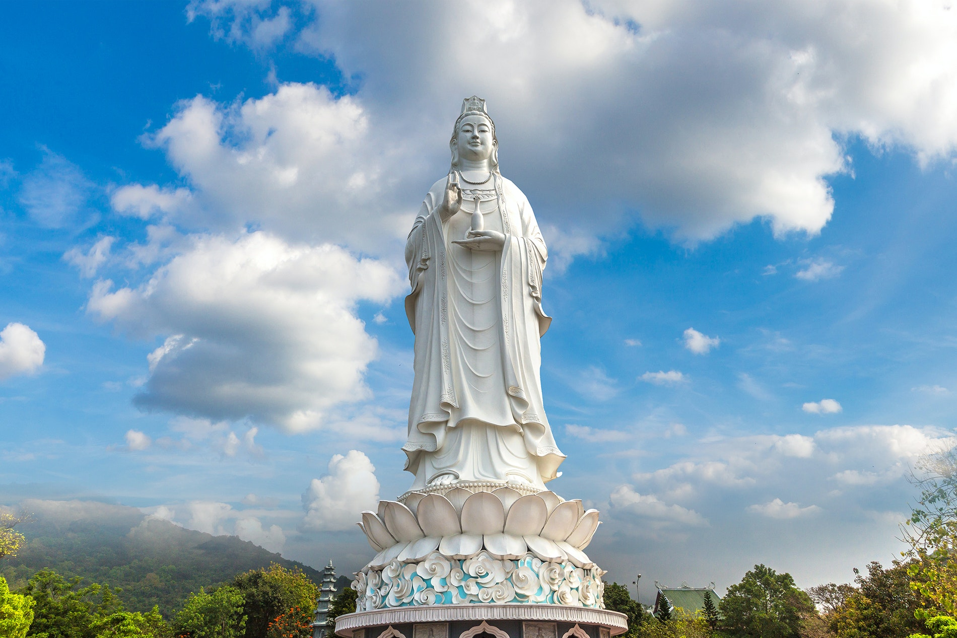 Lady Buddha, at the Linh Ung Pagoda, measures about 230 feet from her head to her lotus leaf base.