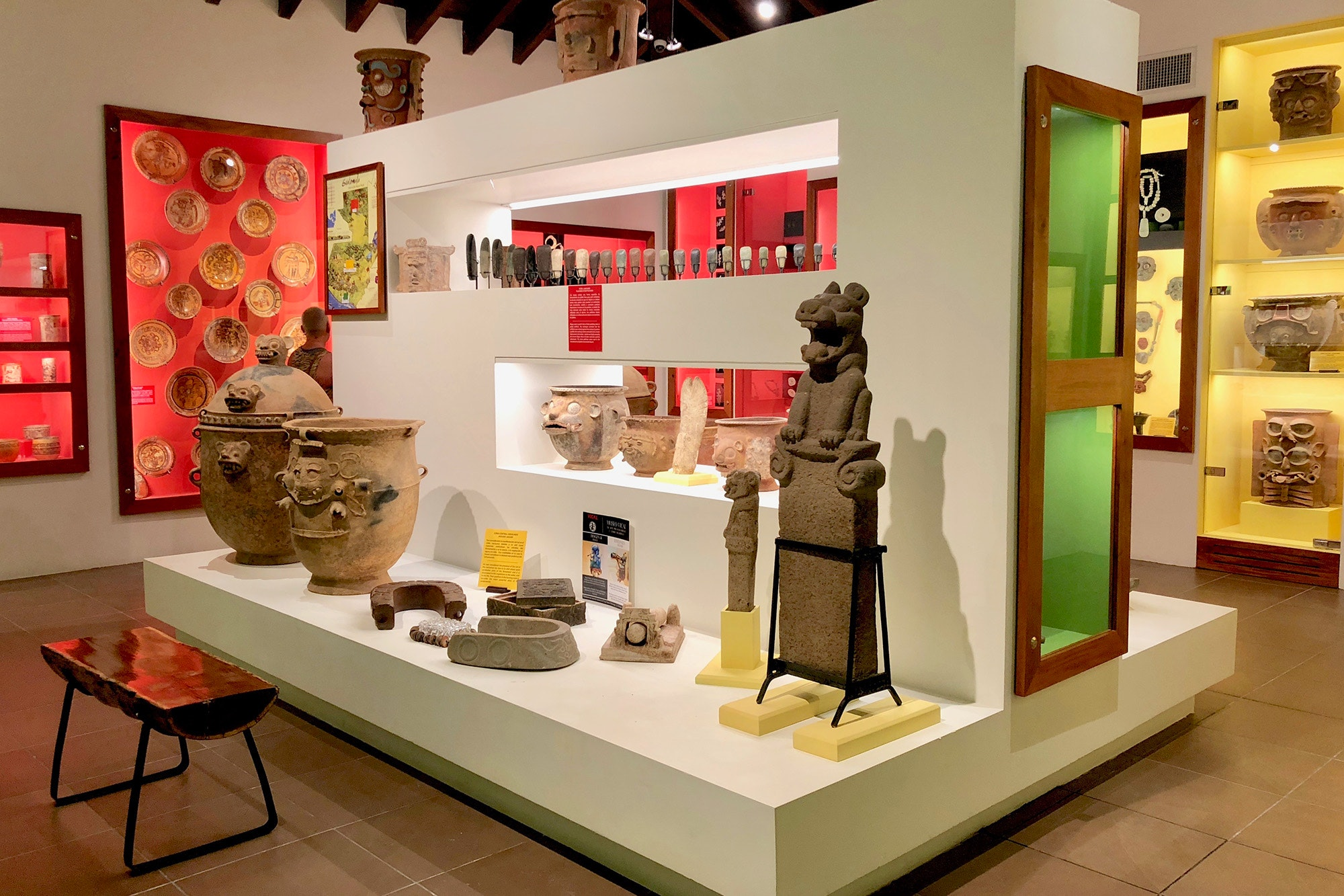 The museum at Las Lagunas Hotel exhibits the owner's private collection of registered Mayan artifacts.