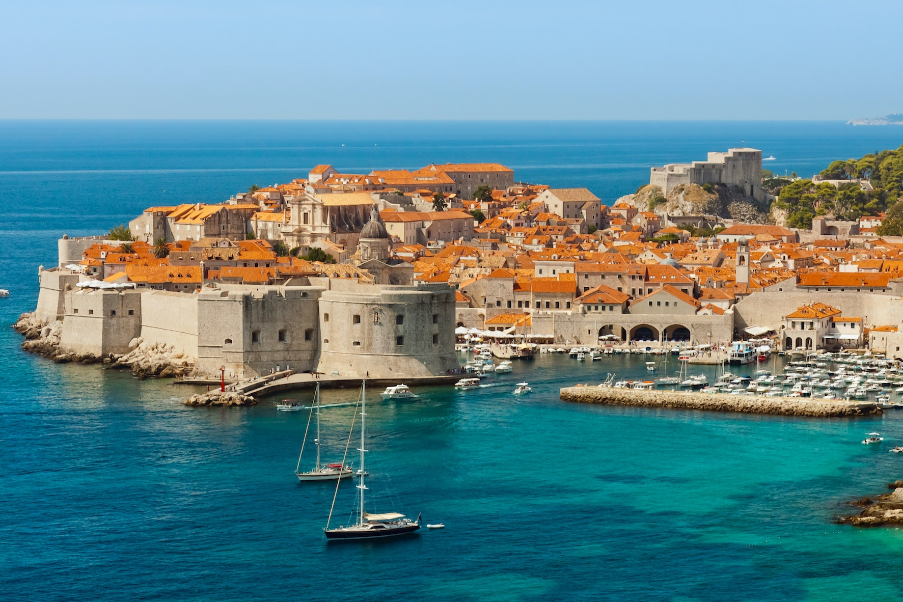 Dubrovnik's Old Town is protected by stone walls completed in the 16th century.