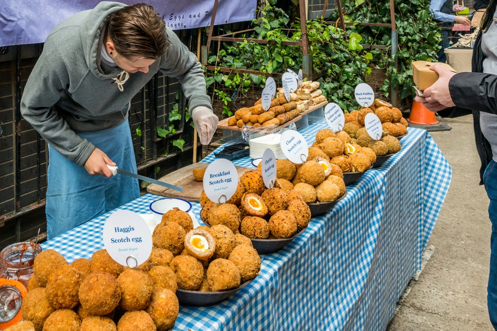 Scotch eggs for sale at the Maltby Street Market