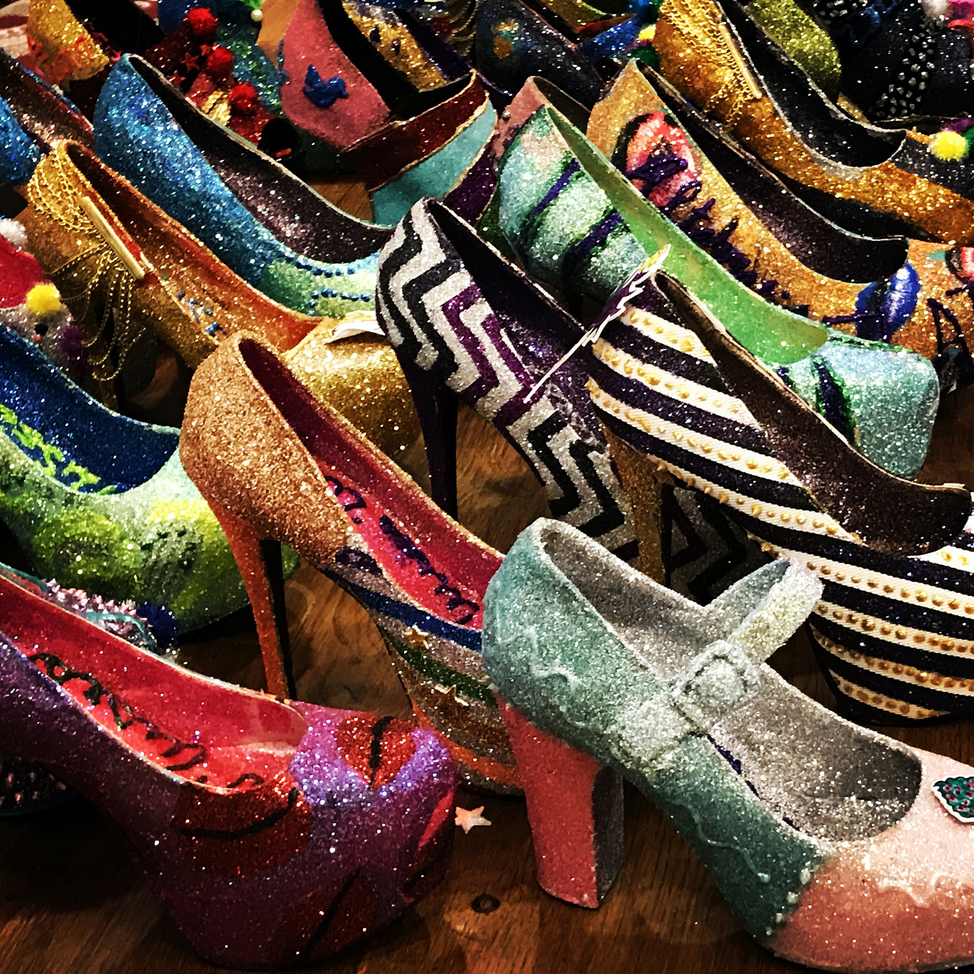 A member of the all-female Mardi Gras krewe Muses, April Blevins Pejic spends about 150 hours each year decorating the 30 shoes she hands out on her krewe's Mardi Gras float.